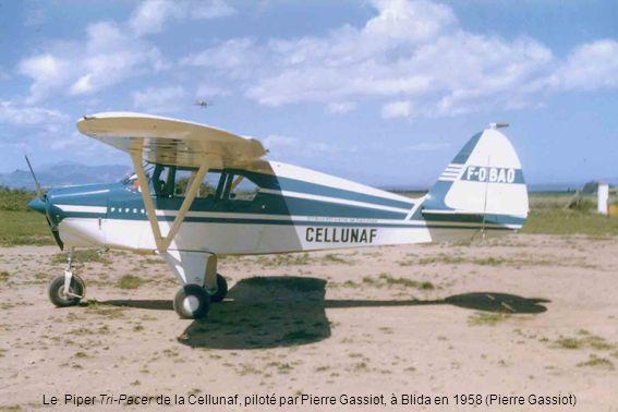 Le Piper Tri-Pacer de la Cellunaf, piloté par Pierre Gassiot, à Blida en 1958 (Pierre Gassiot)