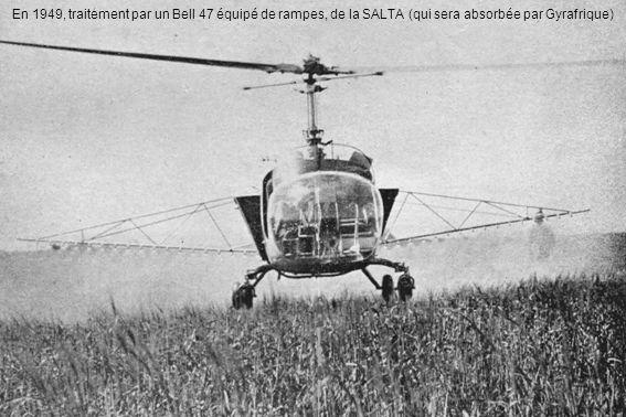 En 1949, traitement par un Bell 47 équipé de rampes, de la SALTA (qui sera absorbée par Gyrafrique)