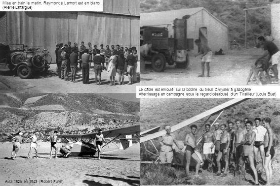 Avia 152a en 1943 (Robert Furet) Mise en train le matin, Raymonde Lamort est en blanc (Pierre Laffargue) Le câble est enroulé sur la bobine du treuil