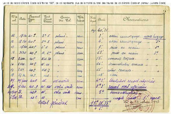 Le vol de record dAndré Costa le 9 février 1937, ce vol représente plus de la moitié du total des heures de vol dAndré Costa en planeur (Juliette Cost