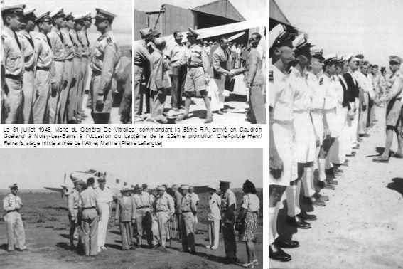 Le 31 juillet 1946, visite du Général De Vitrolles, commandant la 5ème RA, arrivé en Caudron Goéland à Noisy-Les-Bains à loccasion du baptême de la 22