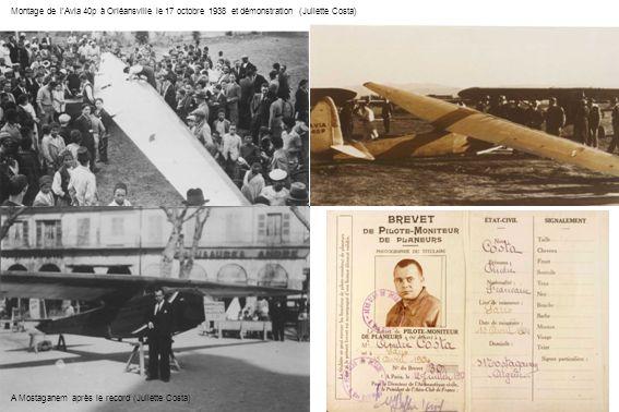 Montage de lAvia 40p à Orléansville le 17 octobre 1938 et démonstration (Juliette Costa) A Mostaganem après le record (Juliette Costa)