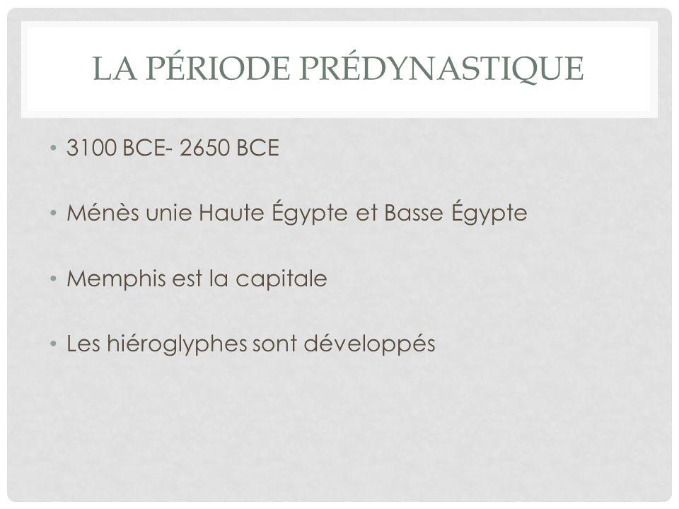 ANCIEN EMPIRE « L AGE DE PYRAMIDES » 2650 BCE- 2134 BCE LÉgypte est divisée en provinces Des gouverneurs travaillent sous le pharaon Les plus grandes pyramides sont construites Le gouvernement commence à contrôler le commerce