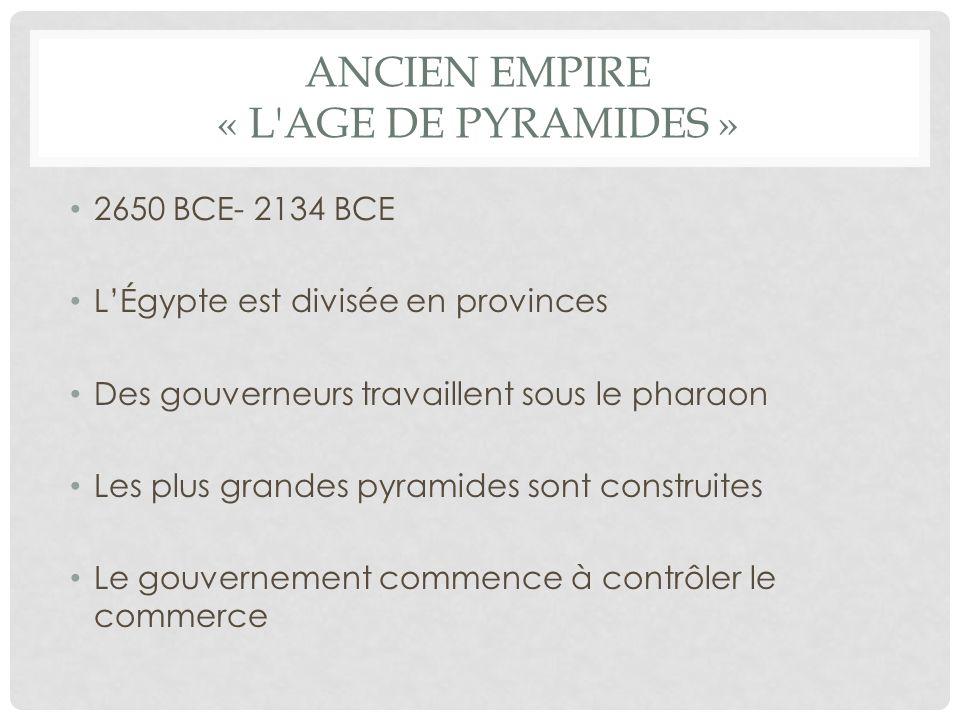 MOYEN EMPIRE « LÂGE DES NOBLES » 2040 BCE- 1640 BCE Les gouverneurs deviennent un risque contre les pharaons LÉgypte développe une armée Lâge de bronze aide avec la technologie Influence et léchange des idées étrangères devient plus grandes