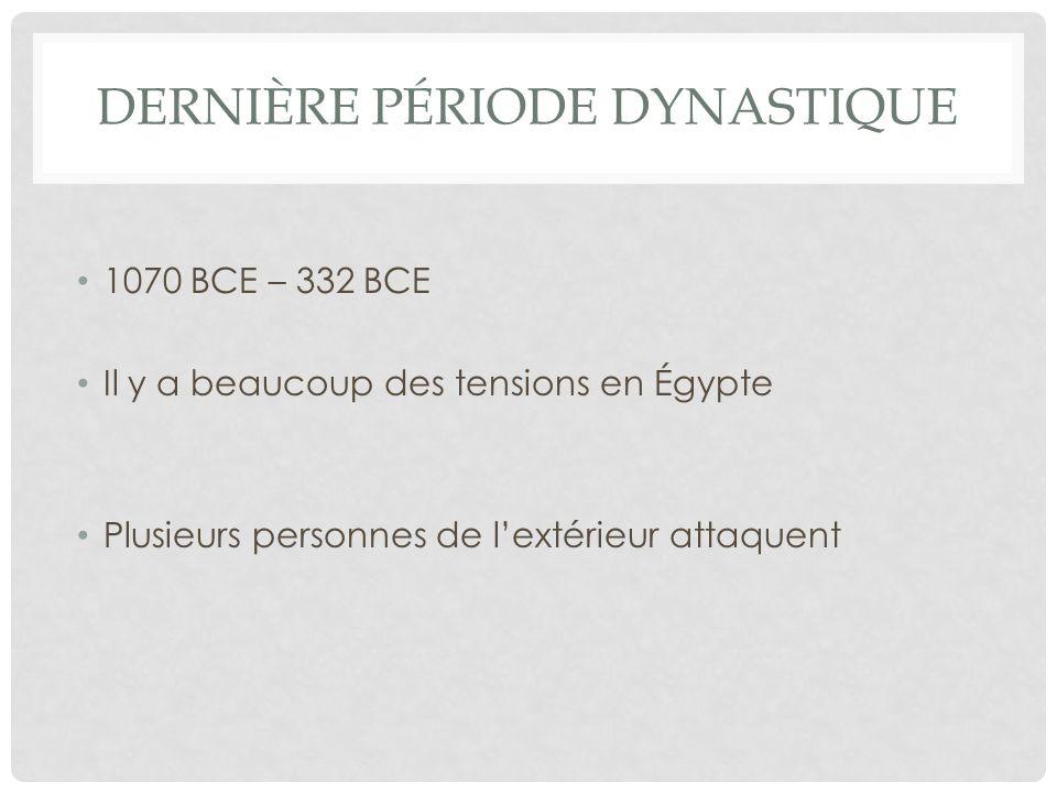LA PÉRIODE GREC 332 BCE- 48 BCE La culture et les hommes de guerre de la Grèce prennent contrôle en Égypte Alexandrie devient la plus grande et plus brillante ville au monde grec.