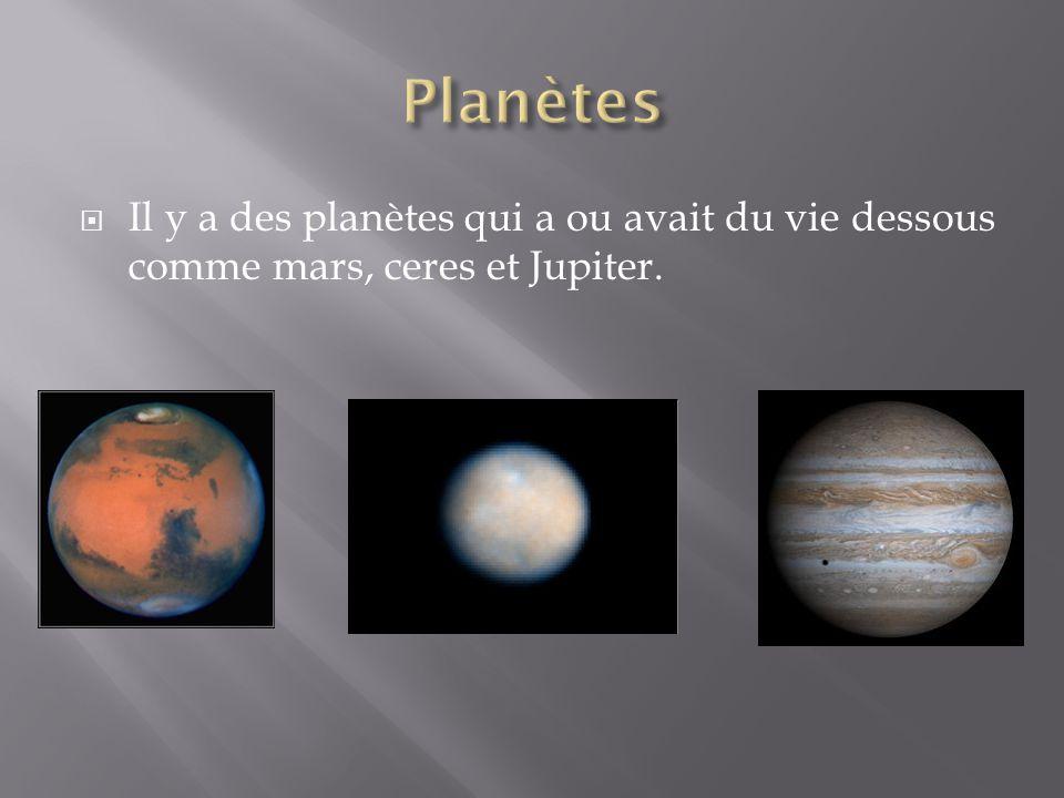 Il y a des planètes qui a ou avait du vie dessous comme mars, ceres et Jupiter.