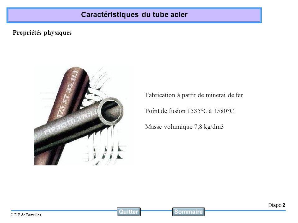 Diapo 2 C E P de Bazeilles Caractéristiques du tube acier Fabrication à partir de minerai de fer Point de fusion 1535°C à 1580°C Masse volumique 7,8 k