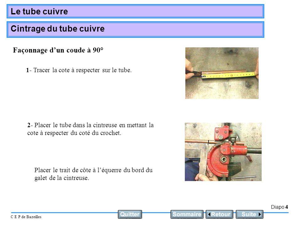 Diapo 4 C E P de Bazeilles Le tube cuivre Cintrage du tube cuivre 1- Tracer la cote à respecter sur le tube. 2- Placer le tube dans la cintreuse en me