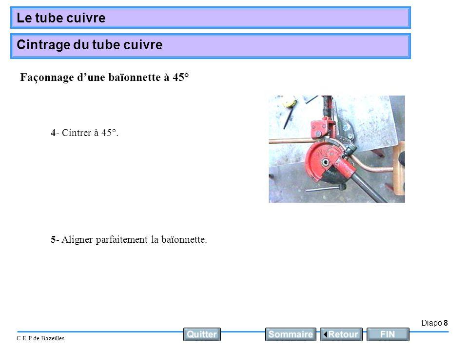 Diapo 8 C E P de Bazeilles Le tube cuivre Cintrage du tube cuivre 4- Cintrer à 45°. 5- Aligner parfaitement la baïonnette. Façonnage dune baïonnette à