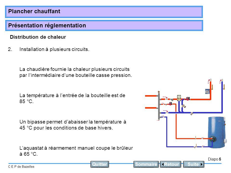 Présentation réglementation Diapo 6 C E P de Bazeilles Plancher chauffant Distribution de chaleur 3.Installation avec bouteille de mélange.
