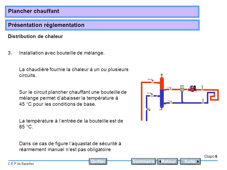 Présentation réglementation Diapo 6 C E P de Bazeilles Plancher chauffant Distribution de chaleur 3.Installation avec bouteille de mélange. La chaudiè