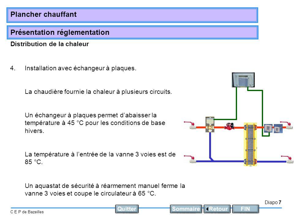 Présentation réglementation Diapo 7 C E P de Bazeilles Plancher chauffant Distribution de la chaleur 4.Installation avec échangeur à plaques. La chaud