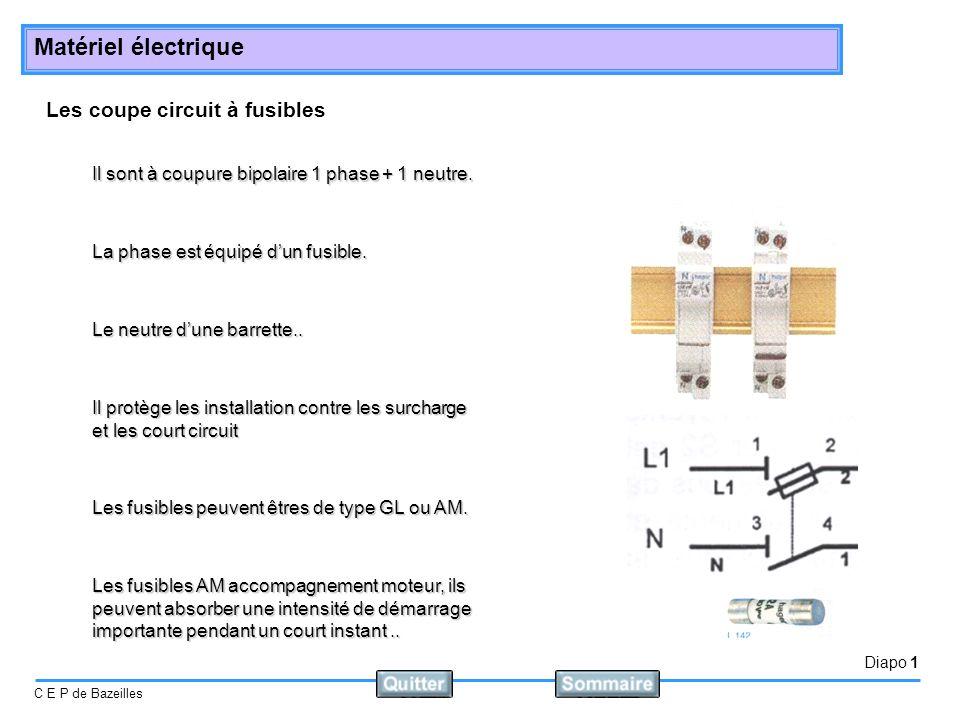 Diapo 2 C E P de Bazeilles Matériel électrique Disjoncteur magnétothermique Il sont : bipolaires tripolaires Il protège les installation contre les surcharge et les court circuit On choisi leur courbe en fonction de leur utilisation.
