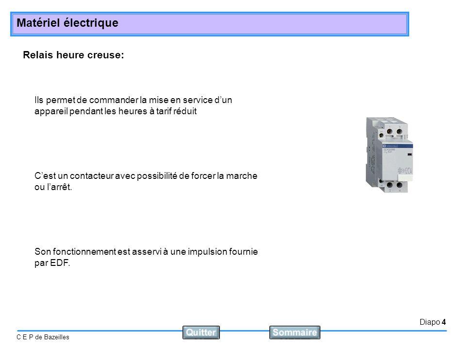 Diapo 4 C E P de Bazeilles Matériel électrique Relais heure creuse: Ils permet de commander la mise en service dun appareil pendant les heures à tarif