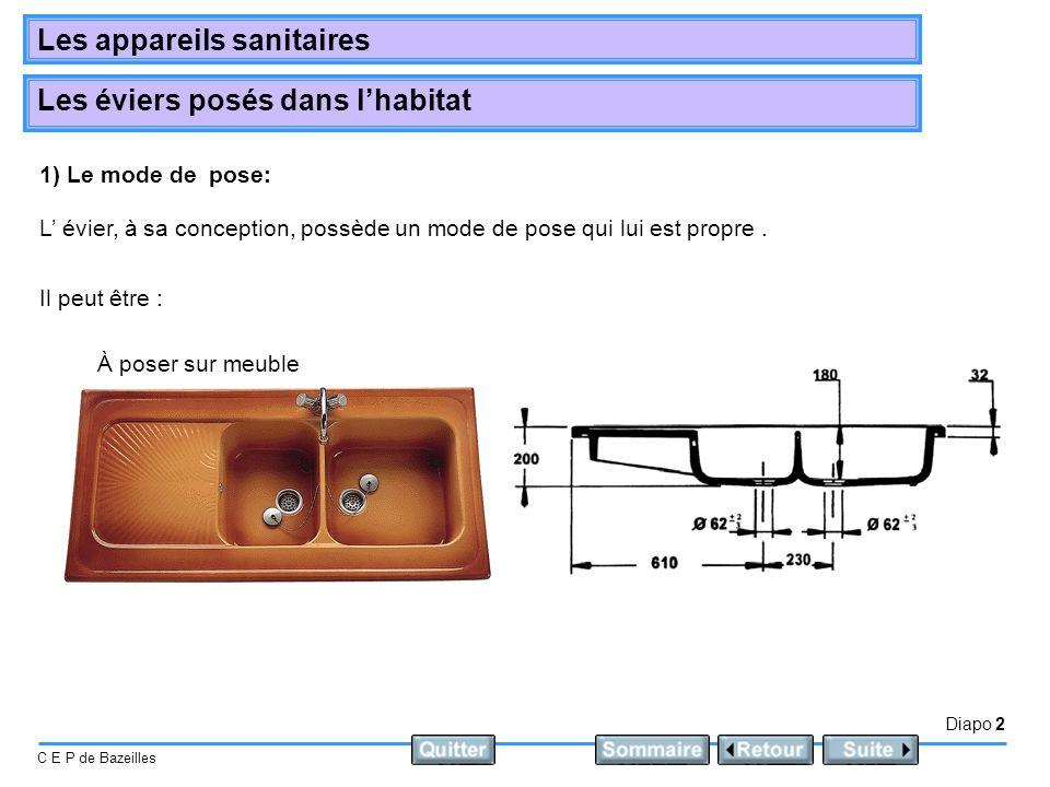 Diapo 2 C E P de Bazeilles Les appareils sanitaires Les éviers posés dans lhabitat 1) Le mode de pose: L évier, à sa conception, possède un mode de po