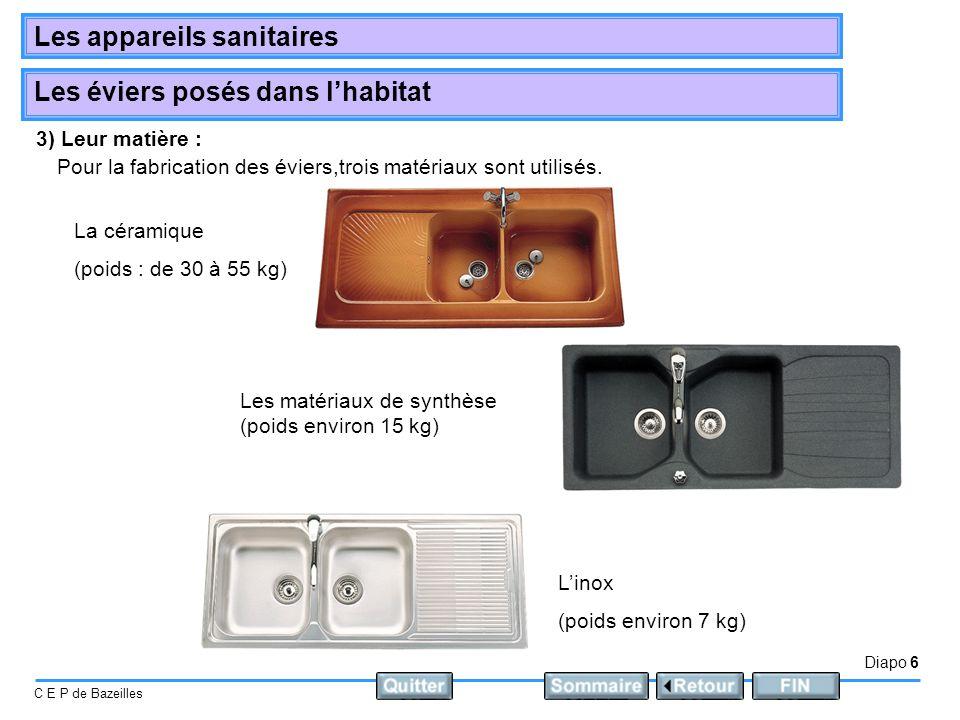 Diapo 6 C E P de Bazeilles Les appareils sanitaires Les éviers posés dans lhabitat 3) Leur matière : Pour la fabrication des éviers,trois matériaux sont utilisés.