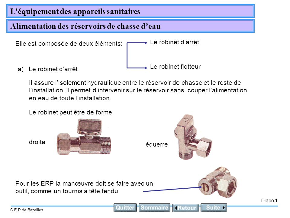 Diapo 1 C E P de Bazeilles Léquipement des appareils sanitaires Alimentation des réservoirs de chasse deau Elle est composée de deux éléments: Le robi
