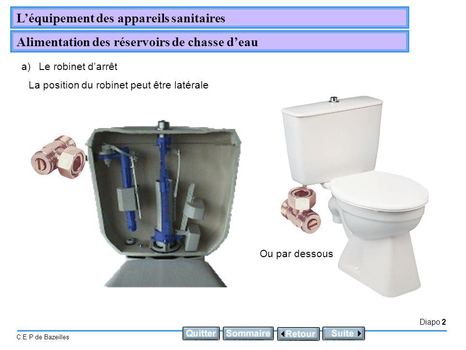 Diapo 3 C E P de Bazeilles Léquipement des appareils sanitaires Alimentation des réservoirs de chasse deau b)Le robinet flotteur Ils ont pour fonction, lalimentation automatique en eau du réservoir.