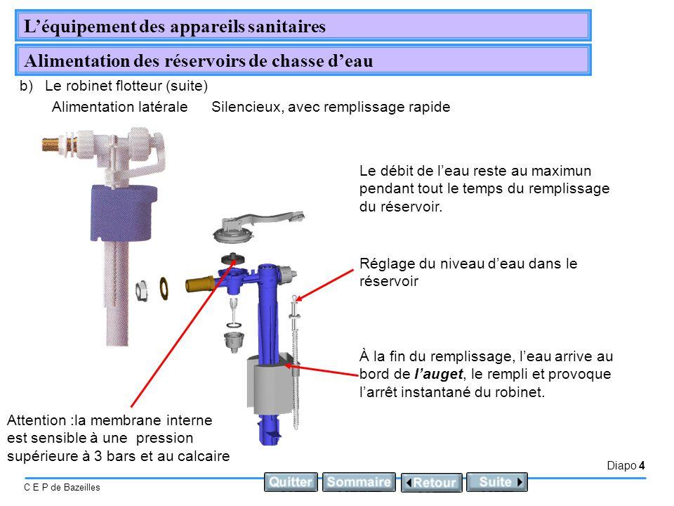 Diapo 4 C E P de Bazeilles Léquipement des appareils sanitaires Alimentation des réservoirs de chasse deau b)Le robinet flotteur (suite) Silencieux, a