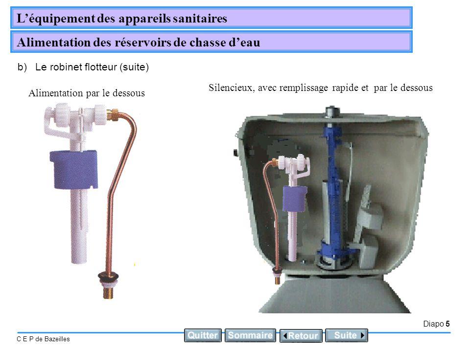 Diapo 5 C E P de Bazeilles Léquipement des appareils sanitaires Alimentation des réservoirs de chasse deau b)Le robinet flotteur (suite) Silencieux, a