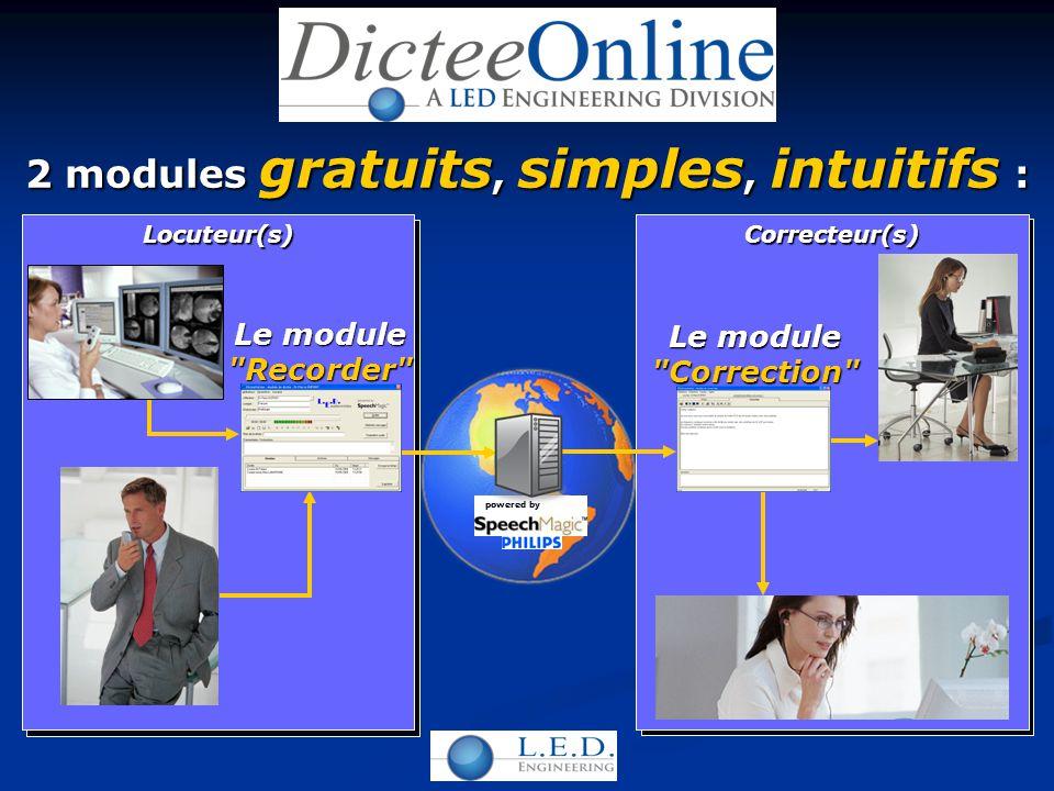 2 modules gratuits, simples, intuitifs : Le module Recorder Le module Correction Locuteur(s)Correcteur(s) powered by
