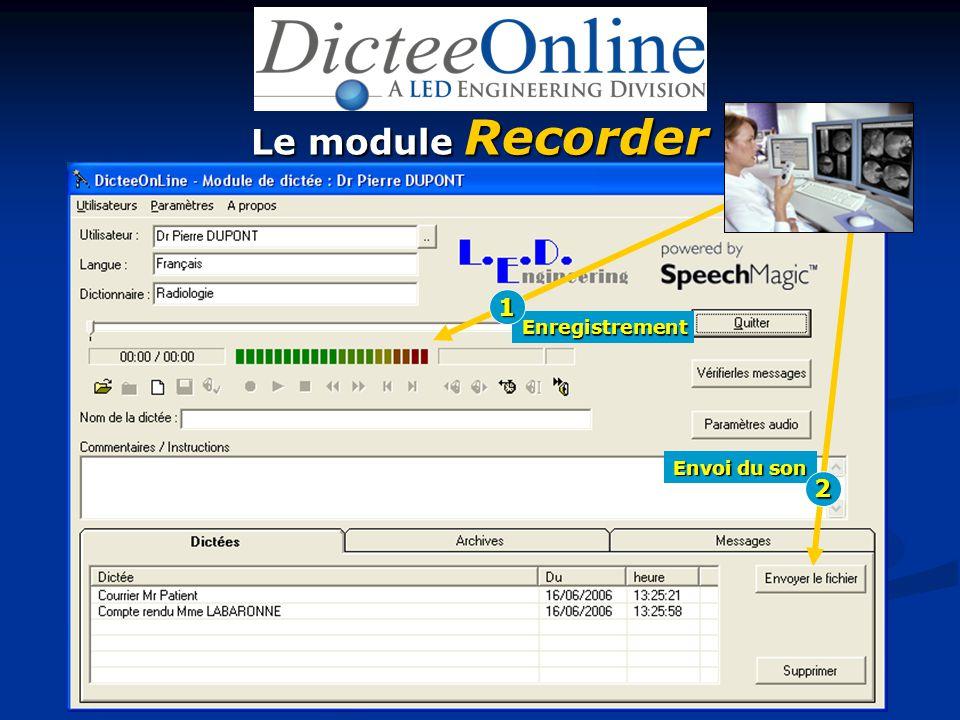 Le module Recorder Enregistrement Envoi du son 1 2