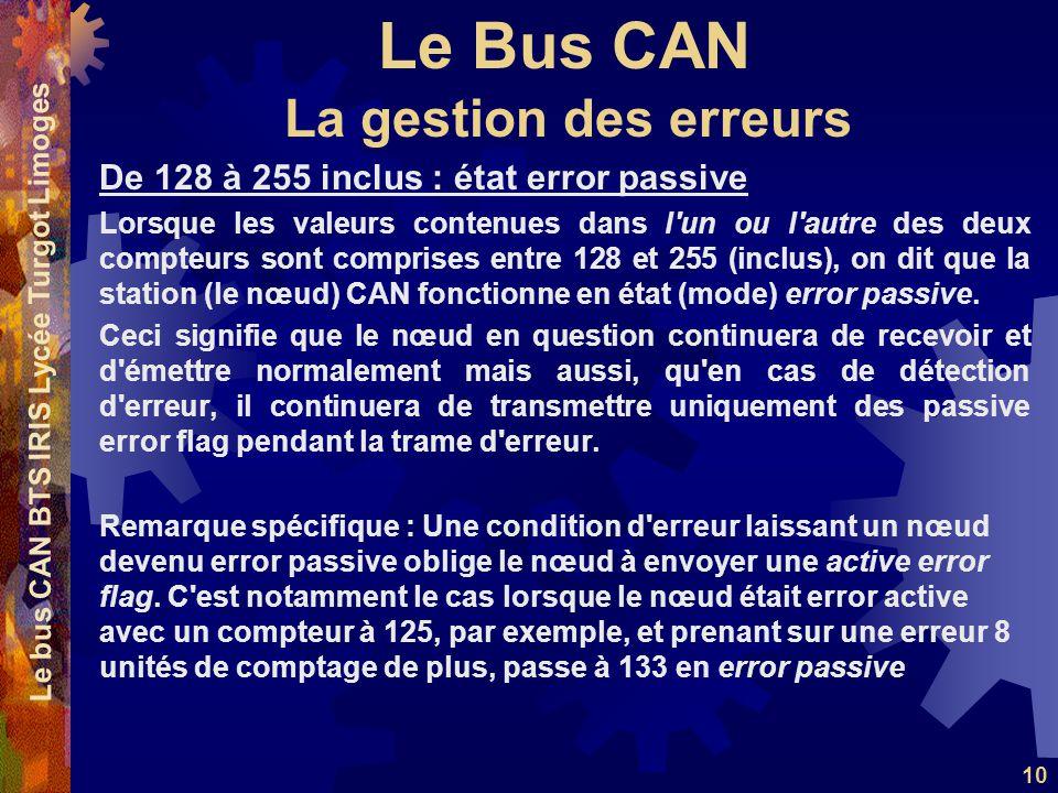 Le Bus CAN Le bus CAN BTS IRIS Lycée Turgot Limoges 10 De 128 à 255 inclus : état error passive Lorsque les valeurs contenues dans l'un ou l'autre des