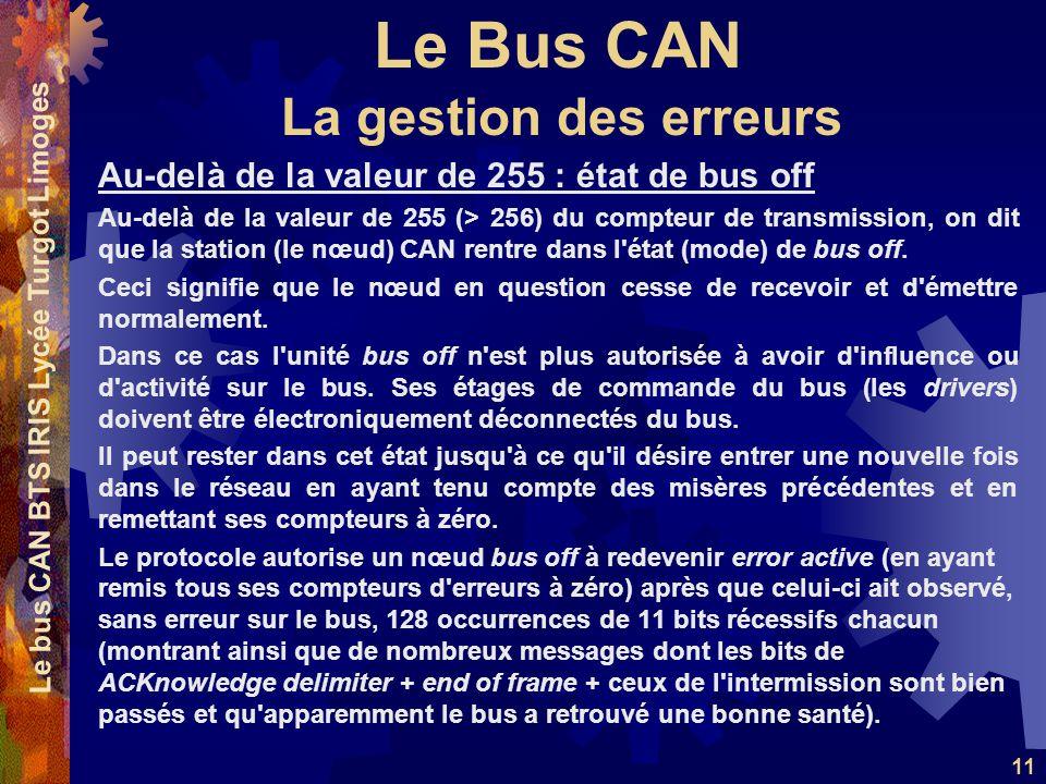 Le Bus CAN Le bus CAN BTS IRIS Lycée Turgot Limoges 11 Au-delà de la valeur de 255 : état de bus off Au-delà de la valeur de 255 (> 256) du compteur d