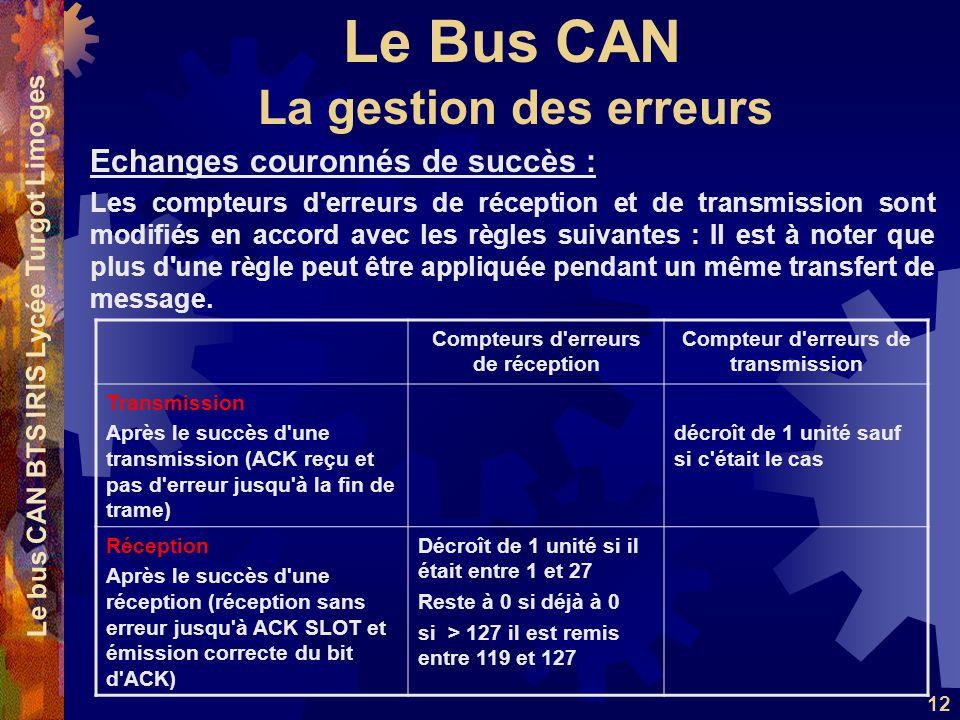 Le Bus CAN Le bus CAN BTS IRIS Lycée Turgot Limoges 12 Echanges couronnés de succès : Les compteurs d'erreurs de réception et de transmission sont mod
