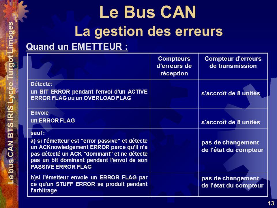 Le Bus CAN Le bus CAN BTS IRIS Lycée Turgot Limoges 13 Quand un EMETTEUR : La gestion des erreurs Compteurs d'erreurs de réception Compteur d'erreurs