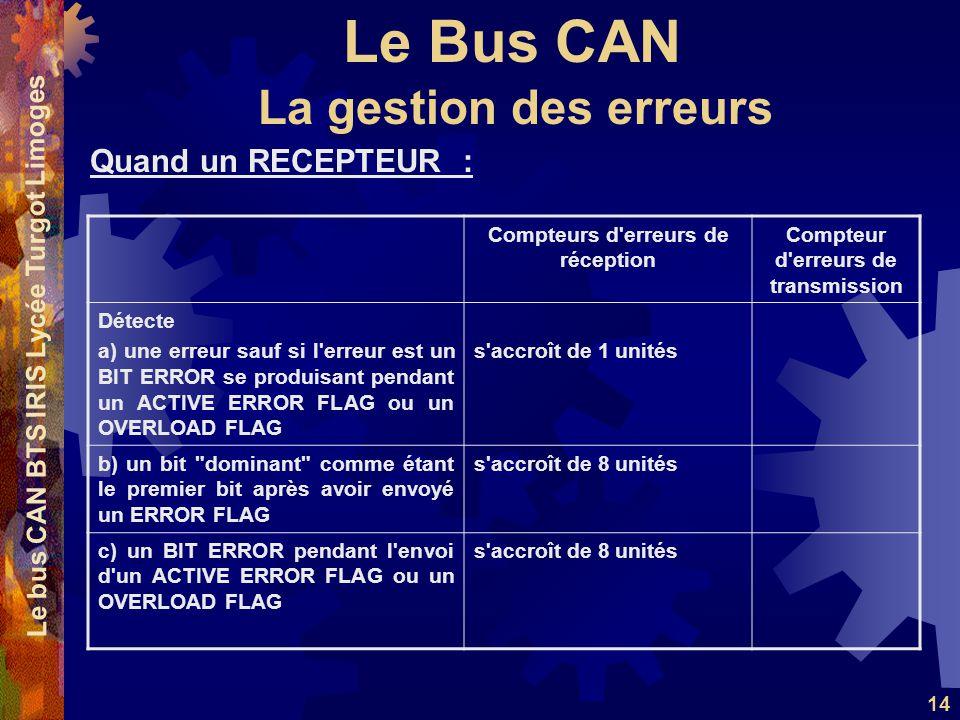 Le Bus CAN Le bus CAN BTS IRIS Lycée Turgot Limoges 14 Quand un RECEPTEUR : La gestion des erreurs Compteurs d'erreurs de réception Compteur d'erreurs