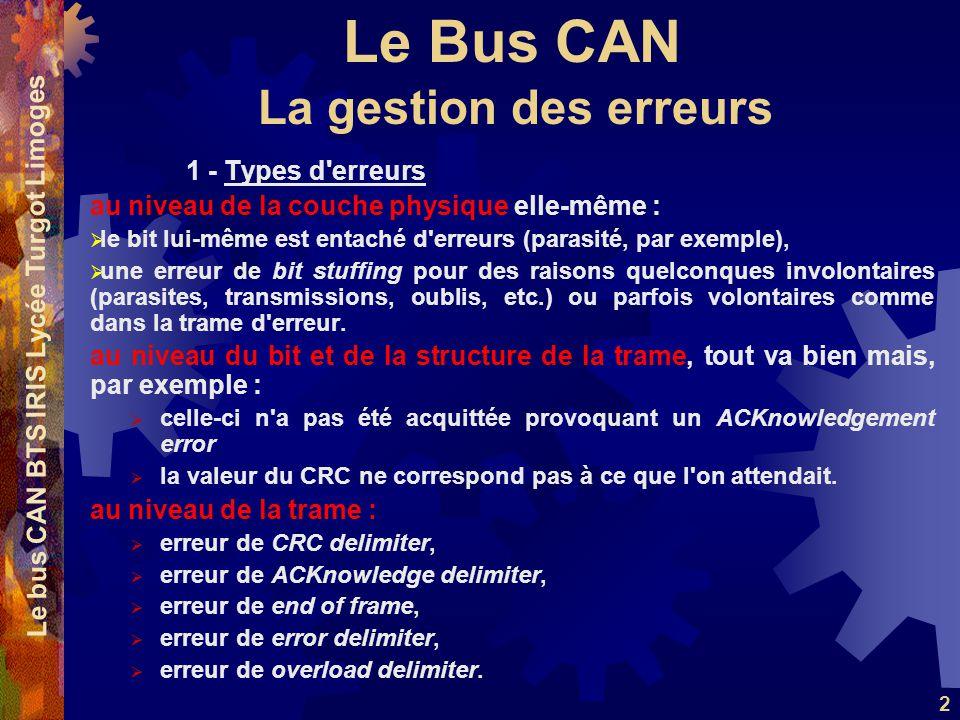 Le Bus CAN Le bus CAN BTS IRIS Lycée Turgot Limoges 2 1 - Types d'erreurs au niveau de la couche physique elle-même : le bit lui-même est entaché d'er
