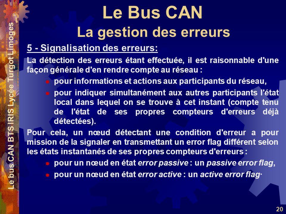 Le Bus CAN Le bus CAN BTS IRIS Lycée Turgot Limoges 20 5 - Signalisation des erreurs: La détection des erreurs étant effectuée, il est raisonnable d'u