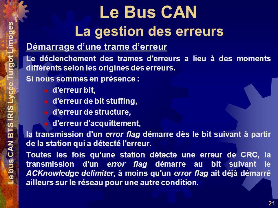 Le Bus CAN Le bus CAN BTS IRIS Lycée Turgot Limoges 21 Démarrage dune trame derreur Le déclenchement des trames d'erreurs a lieu à des moments différe