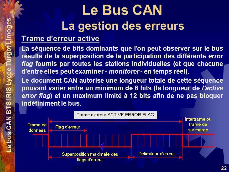 Le Bus CAN Le bus CAN BTS IRIS Lycée Turgot Limoges 22 Trame derreur active La séquence de bits dominants que l'on peut observer sur le bus résulte de