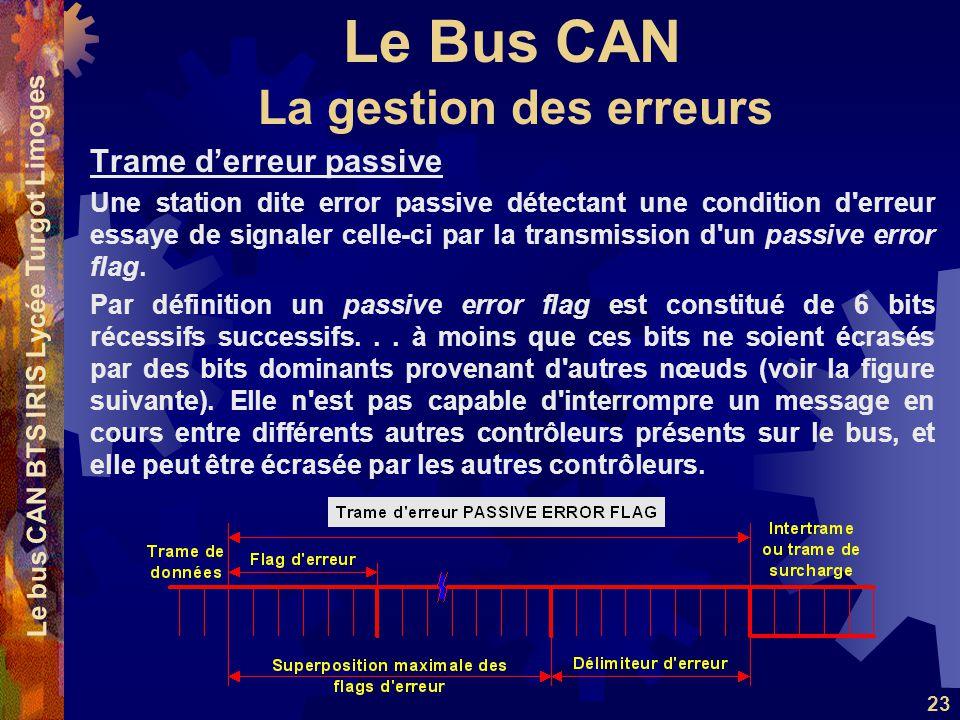 Le Bus CAN Le bus CAN BTS IRIS Lycée Turgot Limoges 23 Trame derreur passive Une station dite error passive détectant une condition d'erreur essaye de