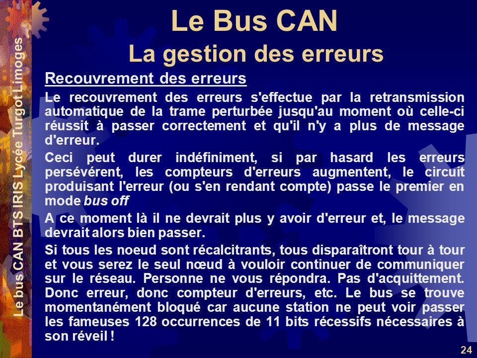Le Bus CAN Le bus CAN BTS IRIS Lycée Turgot Limoges 24 Recouvrement des erreurs Le recouvrement des erreurs s'effectue par la retransmission automatiq