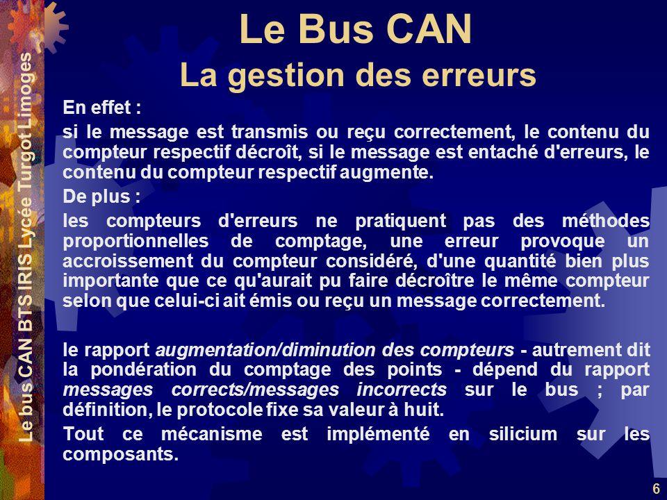 Le Bus CAN Le bus CAN BTS IRIS Lycée Turgot Limoges 6 En effet : si le message est transmis ou reçu correctement, le contenu du compteur respectif déc