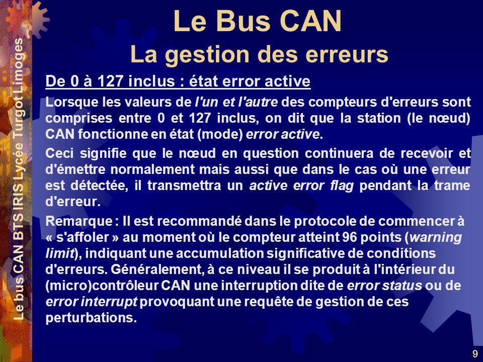 Le Bus CAN Le bus CAN BTS IRIS Lycée Turgot Limoges 9 De 0 à 127 inclus : état error active Lorsque les valeurs de l'un et l'autre des compteurs d'err