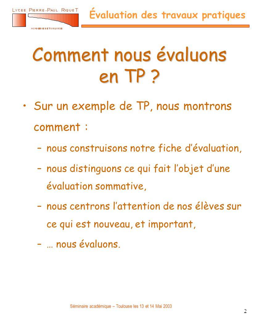 Séminaire académique – Toulouse les 13 et 14 Mai 2003 Évaluation des travaux pratiques 2 Comment nous évaluons en TP ? Sur un exemple de TP, nous mont