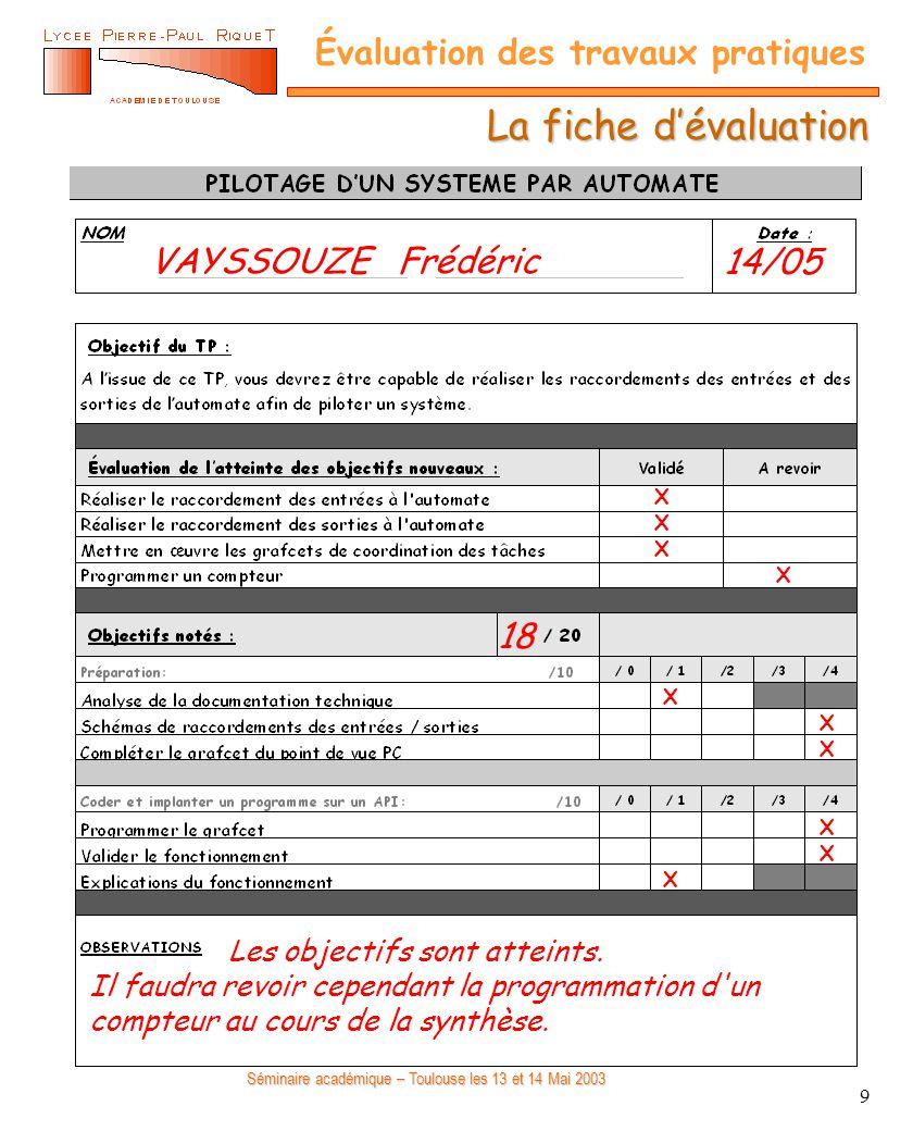 Séminaire académique – Toulouse les 13 et 14 Mai 2003 Évaluation des travaux pratiques 9 La fiche dévaluation X X X X X X X X X X VAYSSOUZE Frédéric14