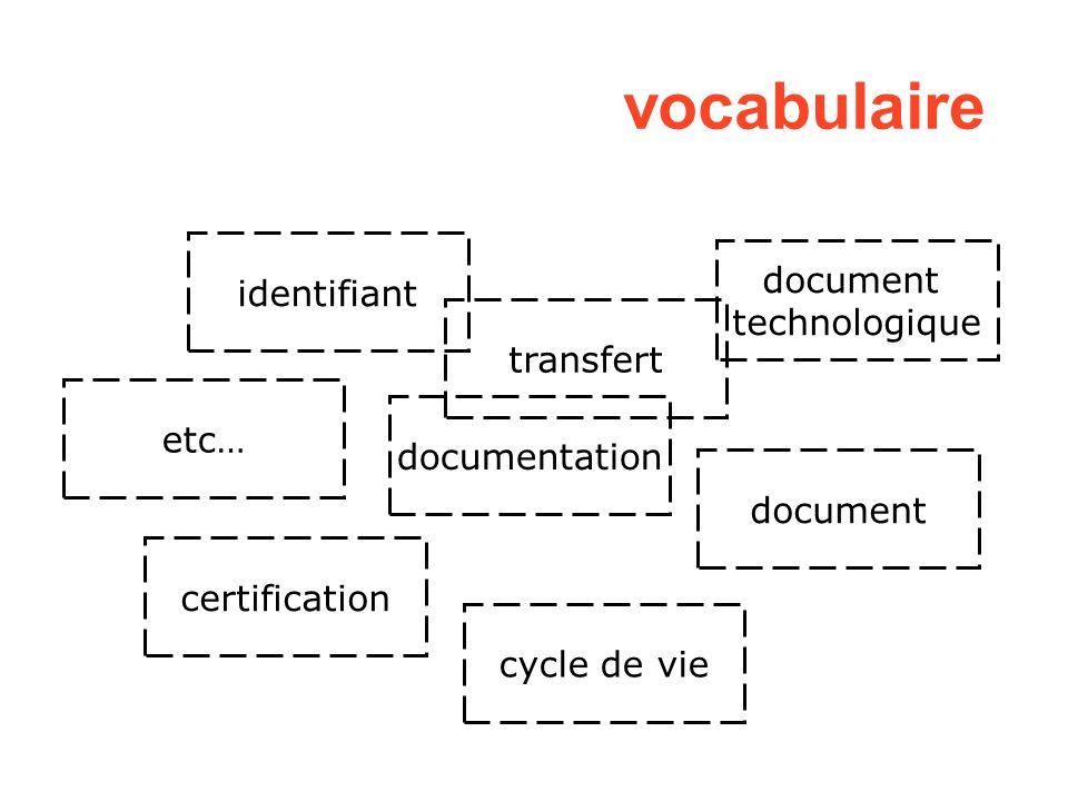 identifiant etc… transfert documentation certification document technologique cycle de vie vocabulaire