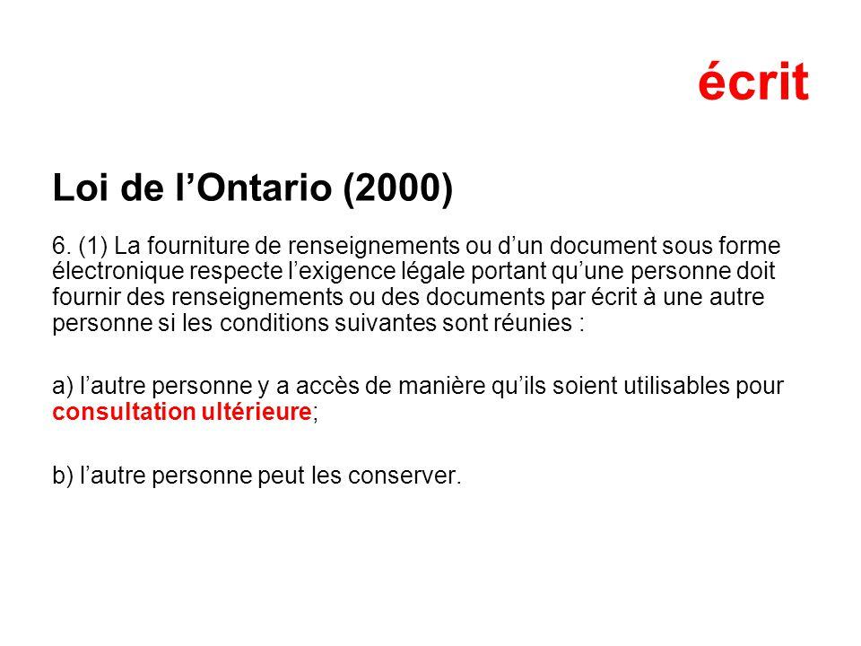 écrit Loi de lOntario (2000) 6.