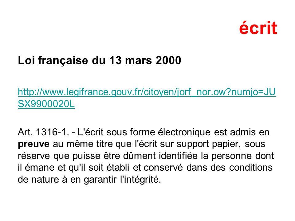 écrit Loi française du 13 mars 2000 http://www.legifrance.gouv.fr/citoyen/jorf_nor.ow?numjo=JU SX9900020L Art.