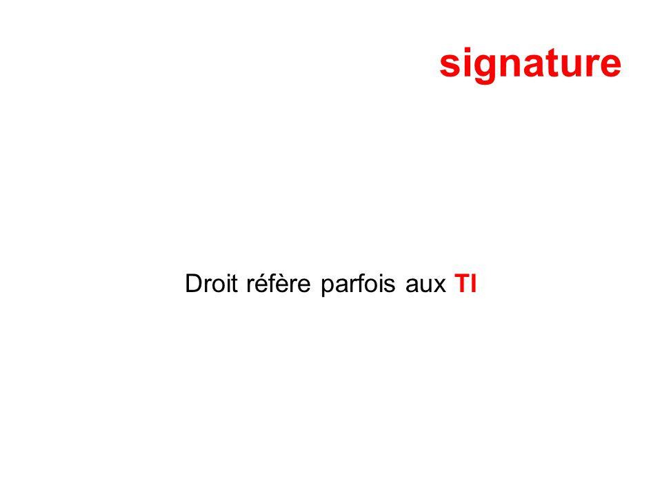 signature Droit réfère parfois aux TI