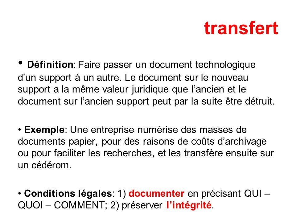 transfert Définition: Faire passer un document technologique dun support à un autre.