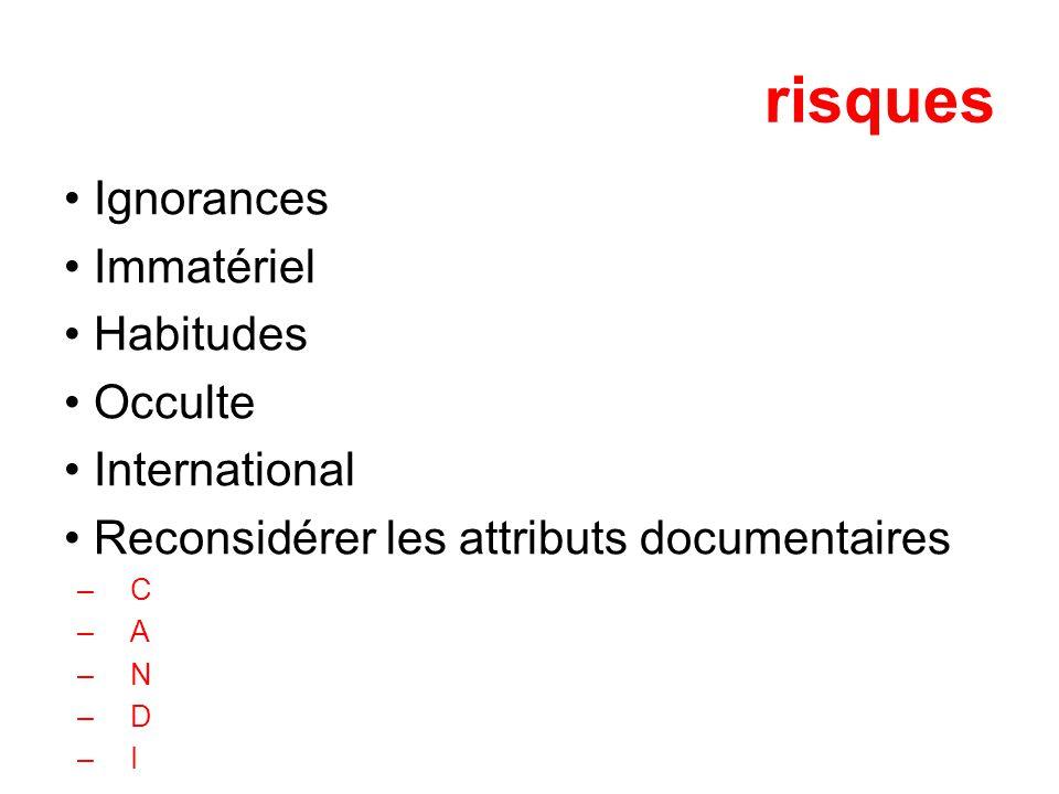 risques Ignorances Immatériel Habitudes Occulte International Reconsidérer les attributs documentaires –C –A –N –D –I