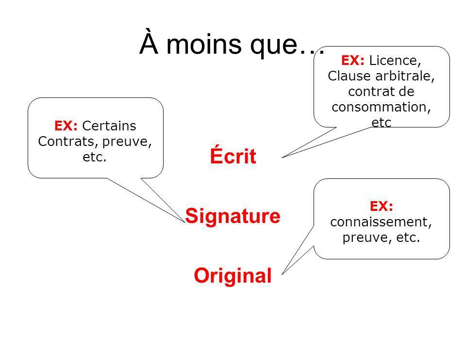À moins que… Écrit Signature Original EX: connaissement, preuve, etc. EX: Licence, Clause arbitrale, contrat de consommation, etc EX: Certains Contrat