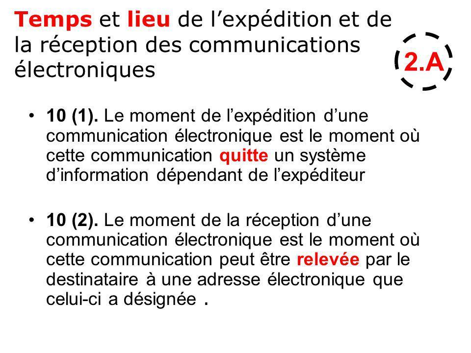 Temps et lieu de lexpédition et de la réception des communications électroniques 10 (1). Le moment de lexpédition dune communication électronique est