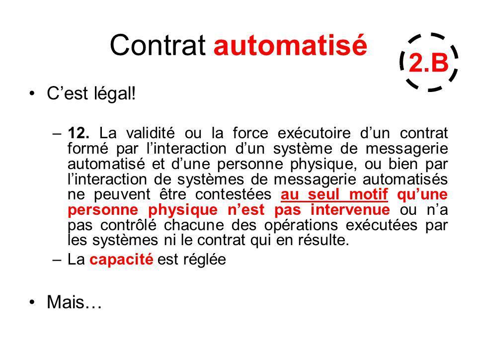Contrat automatisé Cest légal! –12. La validité ou la force exécutoire dun contrat formé par linteraction dun système de messagerie automatisé et dune